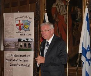 Professor Dr. Hofmann-Göttig, OB der Stadt Koblenz, bei seinem Grußwort anlässlich der Feierstunde des FSK Koblenz-Petah Tikva e.V., 29. Juni 2014